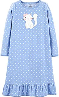 Image of Carter's Fleece Periwinkle Polka Dot Kitty Cat Nightgown for Girls - See More Designs