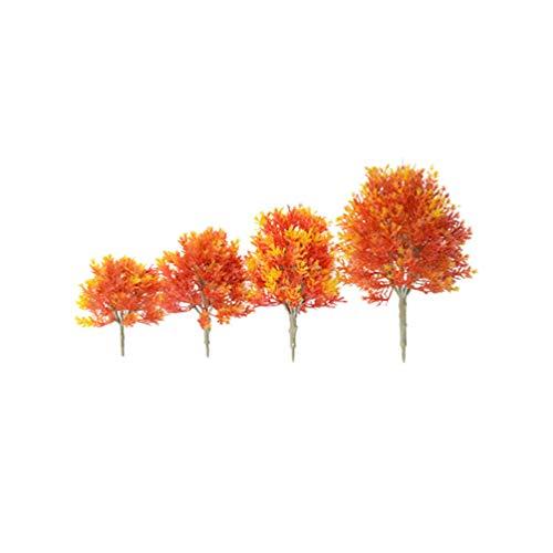 SUPVOX Mini Maple Tree Plant Artificial Maple Tree Plastic Tree Model Miniature Figurine for Micro Landscape Plant Pot Fairy Garden Ornament 4pcs