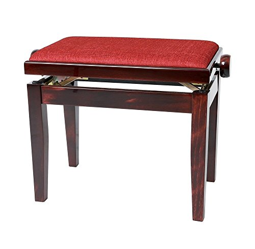Gewa Pianobank Deluxe (Sitzfläche mit rotem Velour, Bruchlast über 2 Tonnen, große und bequeme Sitzfläche, Leichtgängige Höhenverstellung, edles Design und hochertige Verarbeitung) mahagoni matt