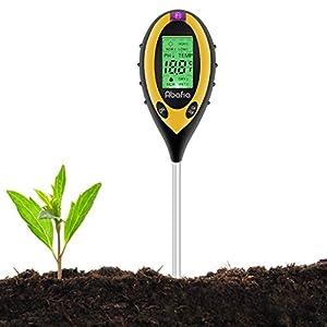 Abafia Medidor de pH del Suelo, 4 EN 1 Suelo Tester Medidor de PH, Luz Solar, Temperatura, Medidor de Humedad para Plantas, Jardín, Granja, Interior, Exterior