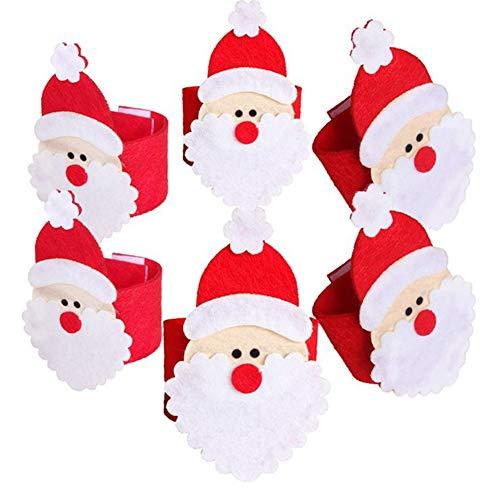 Sarplle Servilletero de 8 Piezas Anillo de servilletas de Papá Noel Anillo de servilletas de Tela Anillo de...