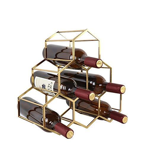 CESULIS Botellas de vino, 6 botellas de vino, de metal, para botellas de vino, 35 x 34 x 17 cm, portátil, color dorado, tamaño: 35 x 34 x 17 cm, exhibición de vino