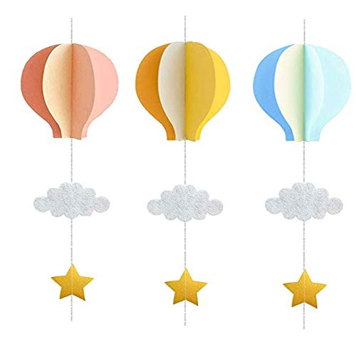 3 Piezas Globo de Aire Caliente Nubes 3D, Papel Globo Aire Caliente Colgante, Papel Reutilizable Plegable Multicolor Para Cumpleaños Temáticos, Aniversario