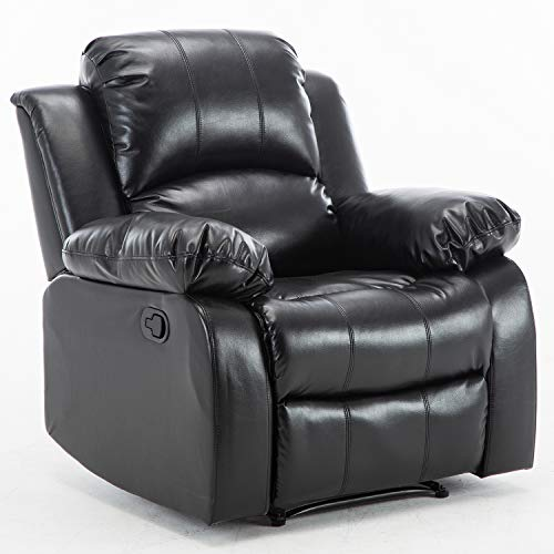 Bonzy Home Air Leather Recliner Chair Overstuffed Heavy Duty Recliner - Faux Leather Home Theater Seating - Manual Bedroom & Living Room Chair Reclining Sofa (Black)