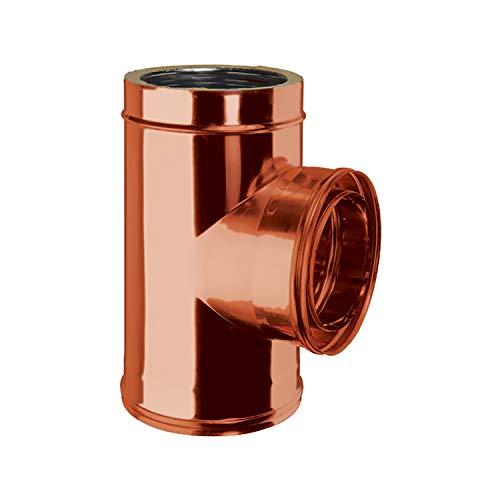 """Raccordo a """"T"""" 90° Doppia Parete Interno Acciaio Inox Esterno Rame Naturale per Canna Fumaria Esterna Coibentata DN 100/150 mm"""