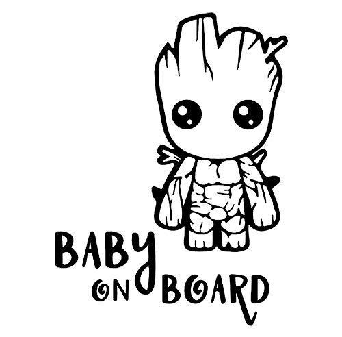 "Adesivo in vinile per bebè, con scritta ""Baby Groot on Board"", varie misure"