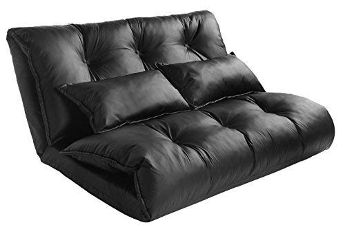 merax folding beds Merax Pu Leather Foldable Modern Leisure Bed Video Gaming Sofa with Two Pillows, Black