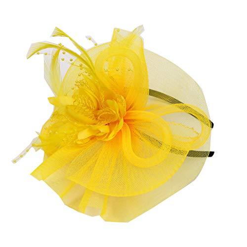 Tocados De Diademas Con Diseo Flor Pluma De Mujer Novia Para Boda O Fiesta (Amarillo)