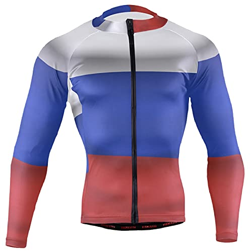 Magnesis Camiseta de manga larga para ciclismo con bandera de Rusia para hombre