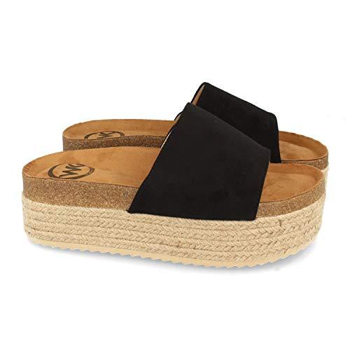 Sandalia de Plataforma para Mujer, Forrado de Yute, con Planta Anatomica, y Pala Simple, Primavera Verano 2021. Talla 36 Negro