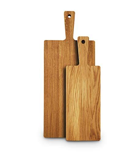 Rivera Schneidebrett im skandinavischen Stil aus Eichenholz ¦ Holzschneidebrett ¦ Servierbrett für zuhause, Restaurant oder Bar ¦ Produkt für den Langzeitgebrauch ¦ Größe 39,5 x 13 x 2 cm (M)