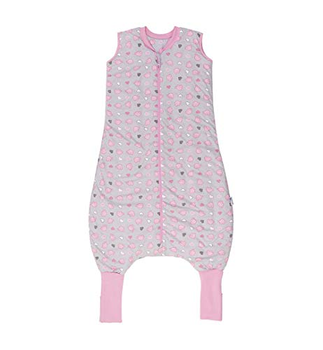 Schlummersack Schlummersack Schlafsack mit Füßen Sommer 1 Tog 120 cm dünn Elefanten rosa | Kinder Schlafsack mit Beinen und verlängerten Bündchen für eine Körpergröße 120-130cm | Schlummersack mit Füßen 1 Tog