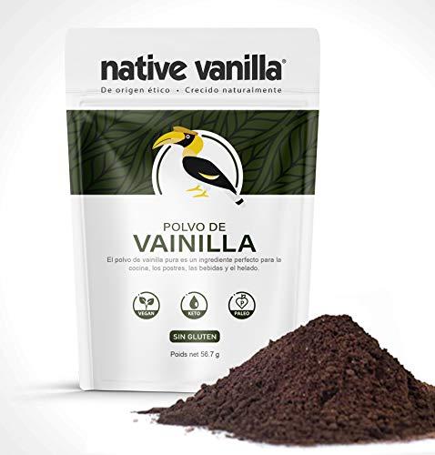 Polvo de vainas de vainilla - Vainilla cruda pura, sin edulcorar - Para cafés, repostería, helados y dieta cetogénica - 57g