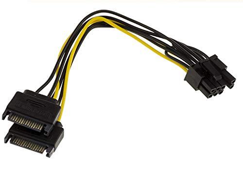 Kalea Informatique Adapterkabel PCIe 6 oder 8 Pins, männlich für Grafikkarte auf 2 SATA-Stromversorgungen, 15-polig, Länge 20 cm