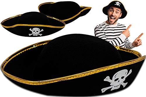 Trendario Piratenhut Kinder, ideal als Karneval Kostüm, Für Damen & Herren, Piraten Hut für Kinder & Erwachsene in Einheitsgröße
