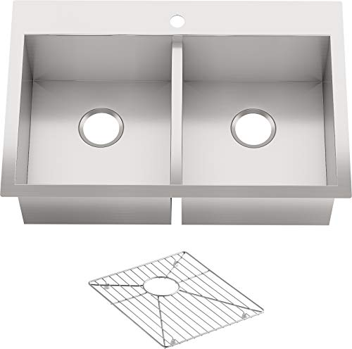 """KOHLER Vault Stainless Steel 33"""" Double-Bowl Kitchen Sink with Single Faucet Hole K-3820-1-NA Drop-In or Undermount Installation, 9 inch Bowl"""