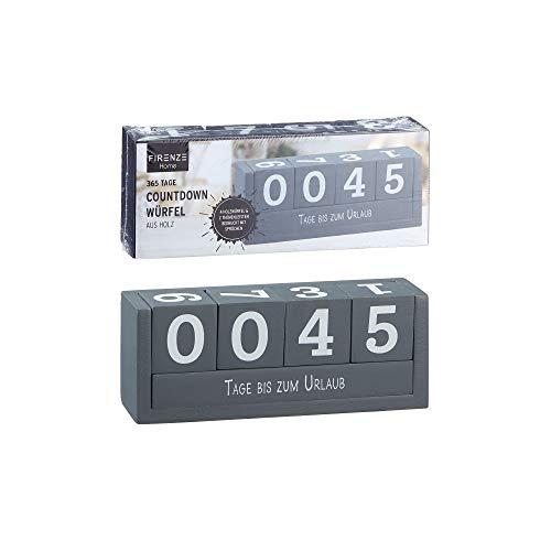 Countdown Würfel aus Holz, 18,5x7cm, Urlaub, Weihnachten, Geburt, Geburtstag, Ruhestand, Prüfung