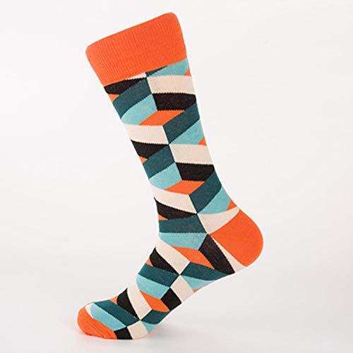 2 paia di calzini da uomo di nuova moda alla moda per l'autunno e l'inverno, calzini da skateboard da strada e calzini da uomo colorati taglia 41-46-Tallone della testa arancione_Codice europeo 41-46