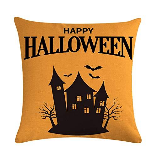 Huwaioury Halloween-Kissenbezug, gruseliger Wald, rund, Mond, Dekoration, quadratisch, Baumwolle/Leinen, Horror Party Supplies 14