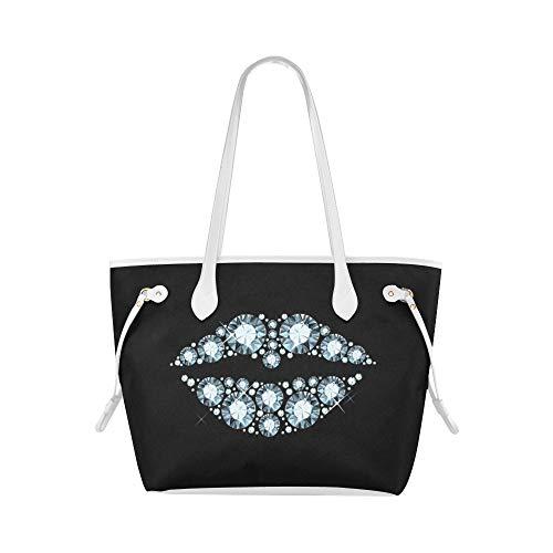 Bolso de trabajo de lujo Diamond Lip Kiss Me bolsos de mano bolsos de mano de gran capacidad resistente al agua con asa duradera