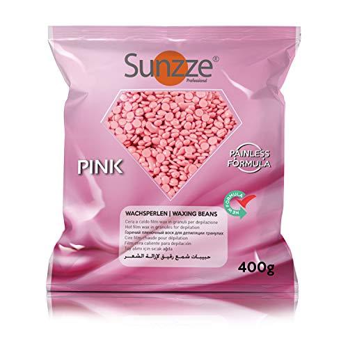 Sunzze Brazilian Waxing Wachsperlen. Qualitäts Film Wachs zur Haarentfernung im Gesicht, Intim, Achsel & Beinbereich. Anwendung ohne Vliesstreifen (Wachsperlen Pink, 400g)