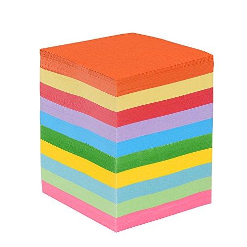 EAST-WEST Trading GmbH Faltpapier, 1000 Blatt 7,5 x 7,5 cm, 70 g/qm 10 Farben - Bunte hochwertige Faltblätter für Origami und Bastelprojekte