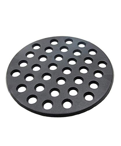"""KAMaster Cast Iron Fire Grate for Big Green Egg 9"""" Charcoal Fire Grate Fit for Large BGE Grill Round Charcoal Grate Grid High Heat Plate BBQ Bottom Parts Replacement Accessories"""
