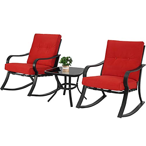 Oakmont Outdoor Furniture 3 Piece Bistro Set Rocking Chairs and Glass Top Table, Thick Cushions, Black Steel (Red)