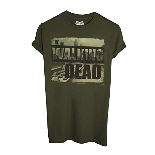 MUSH T-Shirt The Walking Dead City Skyline - Film by Dress Your Style - Uomo-M-Verde Militare