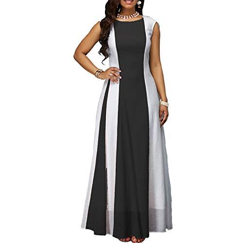 Vestido largo de chifón sin mangas de color sexy para mujer, Negro (Black-1), S