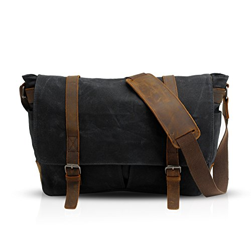 FANDARE Rétro Sac Bandoulière Messenger Bag Toile Sacoche Sac d'épaule pour 14 Pouce Laptop Briefcase Sacs Portés épaule Homme Femme Sac de Sport Travail Ecole Cartable Noir