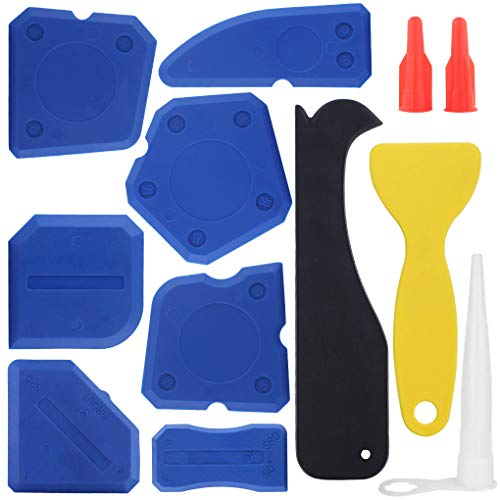 Caulking Tool Silicone Sealant Finishing Grout Tools Kit 12 Pieces Caulk Skirting Boards & Base Boards Replaceable Pads for Bathroom Kitchen Sealing Hand Caulk Removal Tool (Blue)