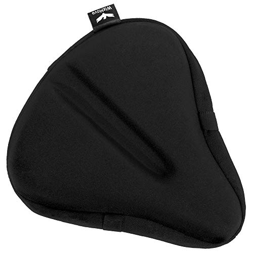 wizmove Large Bike Seat Cover | Premium Wide Gel Bicycle Saddle Cushion | Extra Padded Comfort for Exercise, Stationary, Cruiser or Spinning Cycling (Negro)