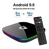 LZDseller01 Android 9.0 TV Box, Set Top 16G 32G 64G Smart Ethernet 3D 6K HD H6 Quad Core TV Box, Wi-Fi 2.4G Incorporado y admite LAN Ethernet 10 / 100M - 115x115x20mm