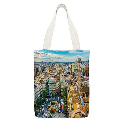 Bolsa de lona Valencia, noche, puesta de sol, paisaje urbano, calles, panorama valenciano, España blanco-color2 reutilizables, bolsas de tela ecológicas, bolsas de hombro superfuertes