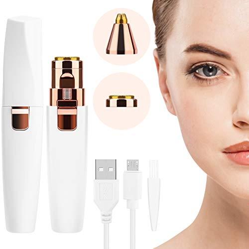 Augenbrauen Rasier Elektrisch, Augenbrauen Trimmer USB für Damen, Gesichtshaarentferner Wiederaufladbar Augenbrauen-Epilierer mit LED-Licht, 2 in 1 Augenbrauen Entferner für Lippen, Nasenhaar