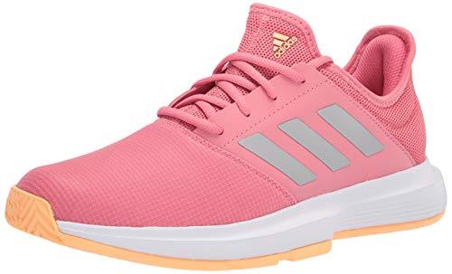 adidas Women's Gamecourt Tennis Shoe, Halo Amber/Silver Metallic/Screaming Pink, 11.5