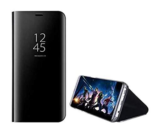 UILY Funda Compatible con Samsung Galaxy A31, Carcasa Espejo Perspectiva Voltear Inteligente Ultradelgada Moda, Concha con Función Soporte Anticaída. Negro
