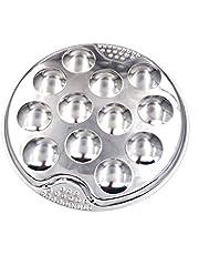 Happymore Placa de caracol de acero inoxidable, placas de platos de 12 agujeros, placa de caracol de hoteles resistente al calor de setas