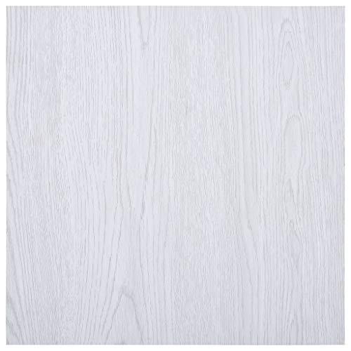 vidaXL Laminat Dielen Selbstklebend Schimmelbeständig Antiallergen Wasserfest Bodenbelag Vinylboden Fußboden Designboden 5,11m² PVC Weiß