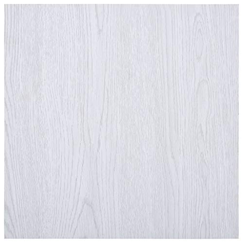 UnfadeMemory Suelo de Vinilo Autoadhesivas,Lamas Autoadhesivas para Suelo,Superficie Total 5,11m²,PVC (Blanco)