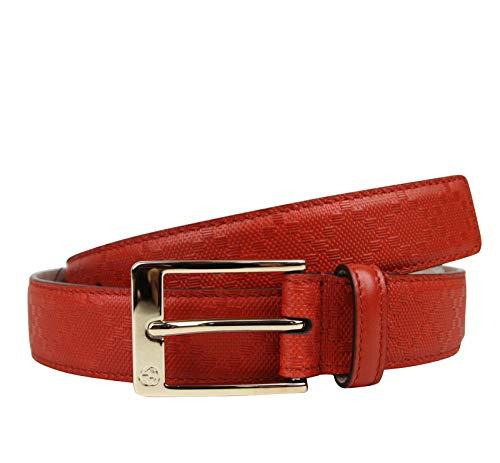 Gucci Men's Orange Red Leather Diamante Square Buckle Belt 345658 6516 (110/44)