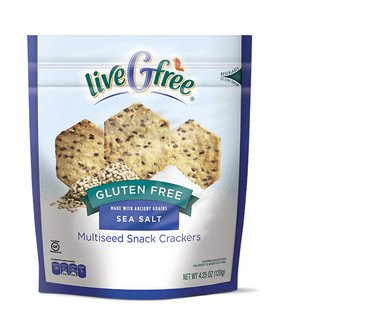 liveGfree Gluten Free Sea Salt Multiseed Crackers 4.25oz, pack of 1