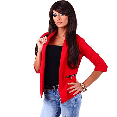 Fashion4Young 10744 Damen Kurzjacke Blazer Jäckchen Jacke knopflos mit Reverse Gr.36/38 (S/M=36/38, Rot)