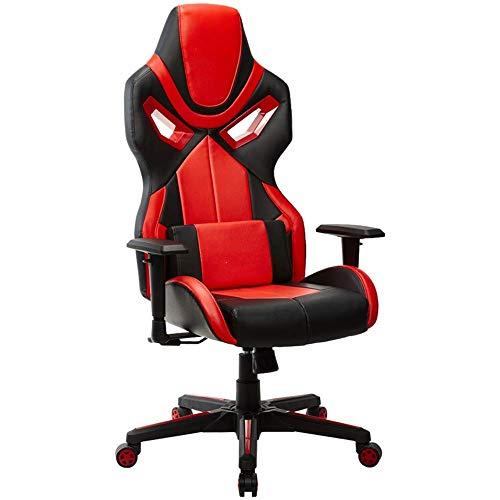 YLLN Gaming Computer Chair, ergonomische Büro-PC-Drehstühle für Spieler, Erwachsene und Kinder mit Armen (Farbe: ROT)