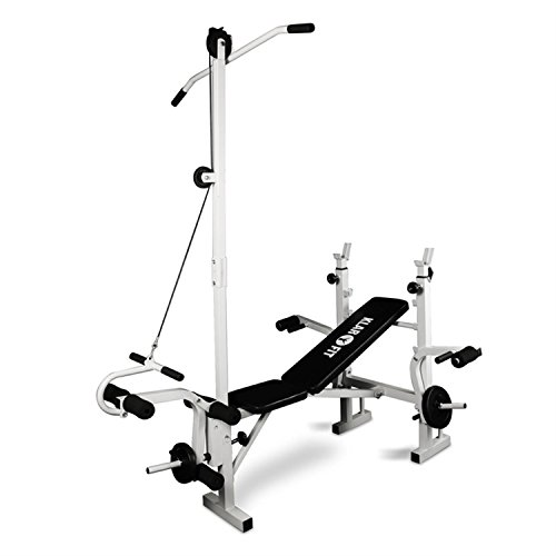 Klarfit - Panca Multifunzione, Home Gym, Palestra Multifunzione, Panca per Sit Up, Rack Bilanciere, Portata 160 kg, Struttura in Acciaio, Rivestimento in PVC Nero