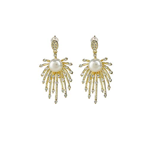 JDWD Pendientes elegantes de plata 925 con aguja de fuegos artificiales y perlas simples de temperamento de diamante para mujer