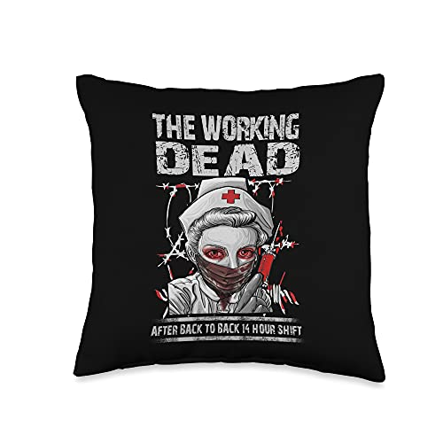 gift card deals still live grab last minute savings today The Working Dead Nurse - Horror Night Gifts The Working Dead Back 14 Hours Shift Gift Throw Pillow, 16x16, Multicolor
