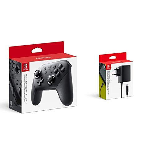Nintendo - Adaptador De Corriente (Nintendo Switch) + Mando Pro Controller, Con Cable USB