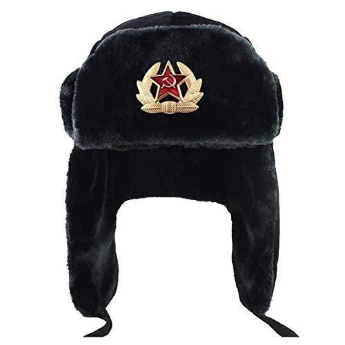 XCLWL Russen Mütze Herren Bomber Hut Frauen Mann Sowjet Armee Militär Abzeichen Winter Hut Earflap Snow Cap Trapper Aviator Cap, Mit Abzeichen